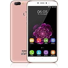 OUKITEL U20 Plus 4G teléfono inteligente, 5,5 pulgadas 1080P pantalla desbloqueado Android teléfono móvil, MT6737T Quad Core 1.5GHz 2 GB RAM 16 GB ROM, 13MP doble lente de la cámara trasera, Dual SIM Pulse Fingerprint sensor de teléfono celular (Rosa de Oro)