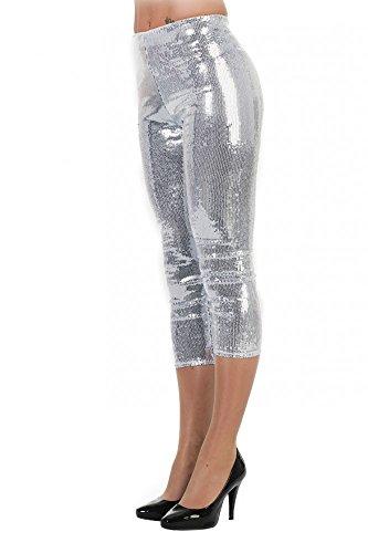 Damen Leggings mit Pailletten Disco Kostüm Glitzer Hose Topqualität glänzend Silvester, Größe:38;Farbe:Silber