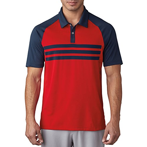 Adidas Golf 2017 Climacool® 3-Stripes Competition Polo Mens Performance Golf Polo Shirt Dark Slate/Scarlet Medium (Golf Polo Herren Ärmel)