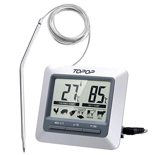 TOPELEK Thermomètre Cuisine Grand Ecran LCD, Thermomètre Sonde pour Cuisson au Four, Mode Cuisson Programmable, Alerte BIPS et Température Préréglée/Mode de Minuterie Intelligent
