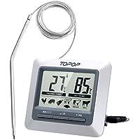 Topop Thermomètre Sonde Numérique de Cuisine Numérique avec Ecran LCD Programmable, Alerte BIPS et Température Préréglée/Mode de Minuterie/Parfait pour l'Alimentation, la Viande, le Gril , BBQ, Lait et l'Eau de Bain