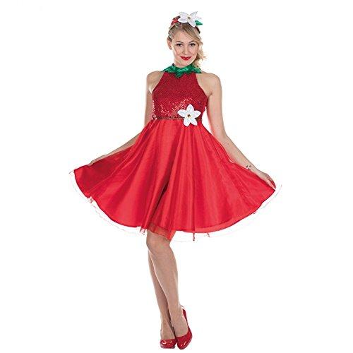 Kostüm Erdbeer - Kostüm Erdbeere, Gr. 42, Kleid rot Erdbeerblüte Fasching Obst Früchtchen Garten