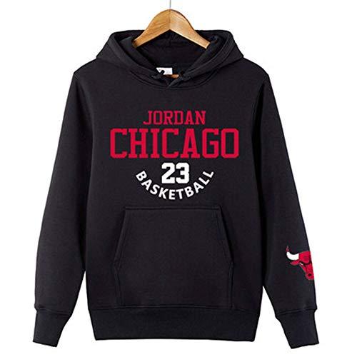 2019 Das Neue Michael Jordan Chicago Bulls 23# Basketball Baumwolle Sweatshirt Mantel Plus Velvet Herbst Sport,Schwarz,XXXL185~195CM