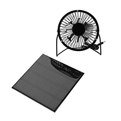 Tbest Solar Ventilator Fan Sonnenkollektor-angetriebener Ventilator, 3W 6V im Freien beweglicher Minifan USB-Ventilator für Reise-kampierendes Fischen (Solar-ventilator)