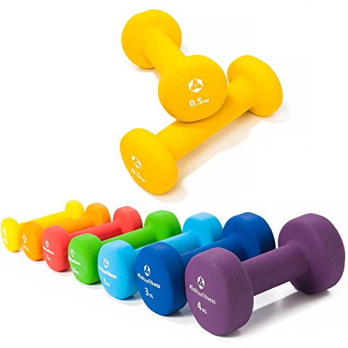 2er-Set Hanteln 0,5kg, 0,75kg, 1kg, 1,5kg, 2kg, 3kg & 4kg / rutschfeste & griffige Neoprenoberfläche »Peso« Kurzhanteln (Aerobic-Gewichte) in verschiedenen Gewichts- und Farbvarianten. Das Hantelset besteht aus 100% Eisen - Die Gewichte bzw. das Kurzhantel-Set eignen sich für Gymnastik, Fitnesstraining, Physiosport & Heimtraiing. Das Hantelpaar ist schön griffig, einfach zu reinigen & resistenz gegen Schweiß & Feuchtigkeit / 0.50kg, gelb