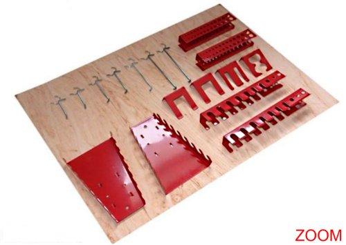 Werkzeughaltersortiment für Euro-Lochwand mit 22 Teilen in Rot - Silber - 3
