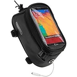 lohai Cyclisme | Sac ROSWHEEL sacoche pour cadre de vélo, tête Tube Support pour sac sac cyclisme, tube avant Téléphone avec Super Film d'écran en PVC transparent pour iPhone 3S/6/5S/5/4S/4, Samsung Galaxy Note 4/3/2, S5/S4/S3, LG G3/2, Sony Xperia Z3/Z2/Z, Femme Homme Enfant, Noir, 4.8 inch