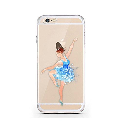 "licaso® für das Apple iPhone 6 6S TPU Face Lips Hülle iPhone 6 Case transparent klare Schutzhülle iphone6 Tasche iPhone 6 Hülle Comic Hülle Face Gesicht Lippen Kuss-Mund (iPhone 6 6S 4,7"", Face Lips) Ballerina blau"