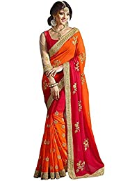 JHTEX FASHION Women's Georgette Saree With Blouse Piece (Ronny011, Orange&Pink, Free Size)