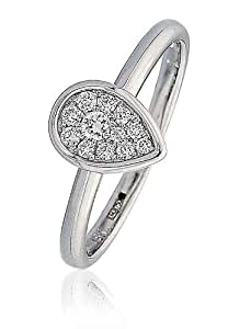 0.15CT Certified G/VS2 Round Brilliant Cluster Rubover Cut pear Shape Diamond Ring in 18K White Gold