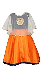 My Lil Princess Baby Girls Birthday Party wear Frock Dress_Blue Orange Poncho_4 - 5 Years