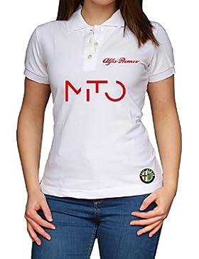 ZETAMARKT Polo Manica Corta Donna Alfa Romeo Mito Racing Poloshirt Personalizzata Po.GIR05