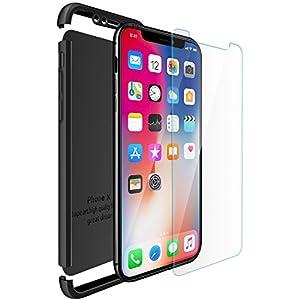 iPhone X Cover , ivencase Cover iPhone 10 Premio Ibrido Rugged 3 in 1 Duro Antigraffio Macchia PC Custodia + Pellicola Vetro Temperato Protettiva per Apple iPhone X 5.8