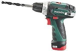 Metabo 600080500 Akku-Bohrschrauber klein PowerMaxx BS Basic  10.8V, 2x 2Ah Li-Ion Akkus, inklu. Ladegerät, im Koffer, max. Drehmoment: 17Nm (weich)/ 34Nm (hart)