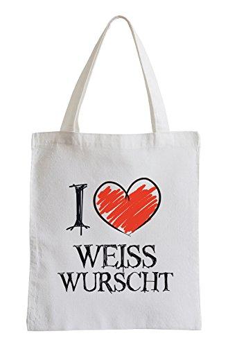 I love Weisswurscht Fun Jutebeutel