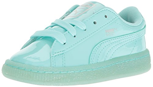 Puma Kids' Basket Patent Iced Glitter Inf Running Shoe, Aruba Blue-Aruba Blue, 5 M US Toddler -