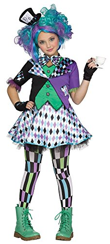 Mad Hatter Deluxe Kinder-Kostüm Alice im Wunderland Verrückter Hutmacher Mädchen, Kindergröße:158 - 12 bis 14 Jahre