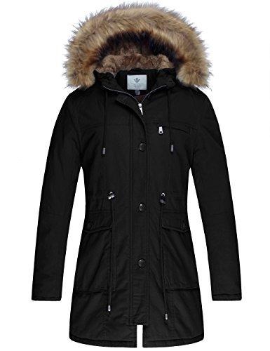 WenVen Femme Manteau d'hiver Coupe-Vent en Coton Polaire Blouson à Capuche Parka cintré Noir Medium