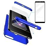 AILZH Huawei Honor 7X Hülle+Gehärteter Glas Folie 360 Grad HandyHülle PC Hartschale Anti-Schock Schutzhülle Anti-Kratz Stoßfänger Bumper 360° Cover Case matt Schutzkasten(Blau)