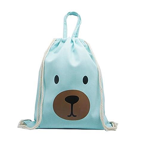 Artone Cartoon Bear Cotton Canvas Drawstring Bag Travel Daypack Sports Portable Backpack Canvas Handbag Green