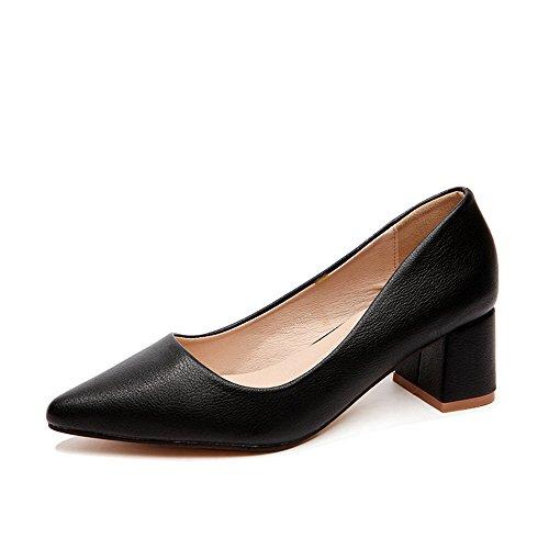 FUFU Scarpe da donna PU Spring Autumn Comfort Flat Low Heel Tacco rotondo Round Toe Con Per Casual Bianco Nero Giallo 5.5cm ( Colore : Bianca , dimensioni : EU39/UK6/CN39 ) Nero