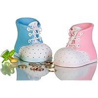 Preisvergleich für 1 x Spardose Babyschuh Farbe hellblau Höhe 9 cm Deko Geschenk Taufe Geburt Baby Geld