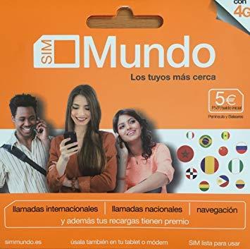 Tarjeta SIM de prepago Orange Mundo. Solo cuesta 5 euros e incluye 5 euros de saldo. Se obtiene un número nuevo y es posible recargarla con más saldo en cualquier momento hacer llamadas nacionales e internacionales y navegar, contratar bonos de voz e...
