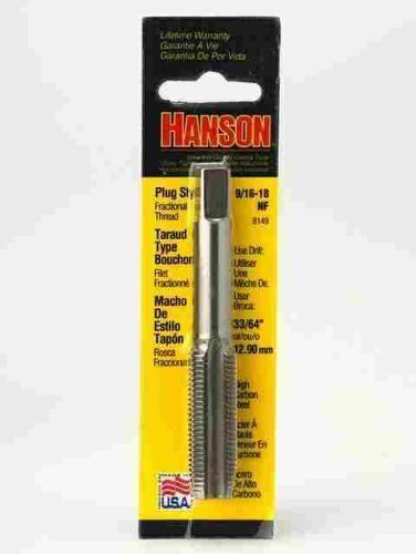 High Carbon Steel Machine Screw Fractional Plug Tap 9/16 18 Nf (han8149) by Hanson