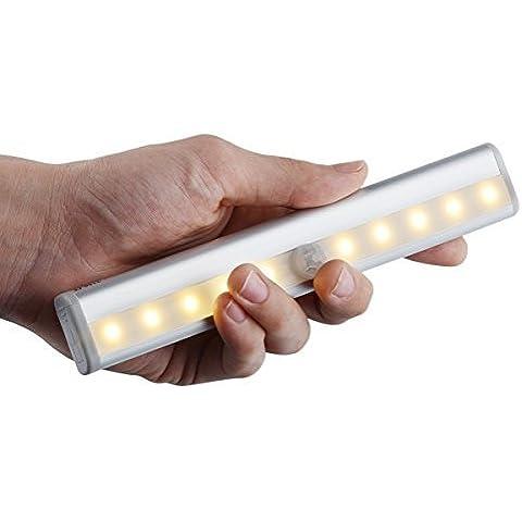 Wireless LED para pegar el 10 de vibración de movimiento Shake noche del sensor de luz LED de barra de la lámpara para armario ropero Gabinete