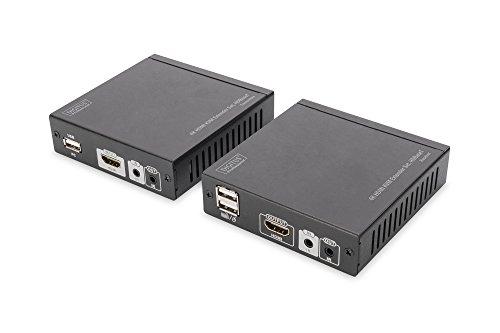 Cat-x Sender (DIGITUS Professional DS-55502 - 4K HDMI KVM-Extender - 30/60 Hz - Set (Sender/Empfänger) - HDBaseT - HDCP 1.4 - bis zu 70 m Reichweite - PoE-fähig - Patchkabel (Cat 5e/6) - schwarz)