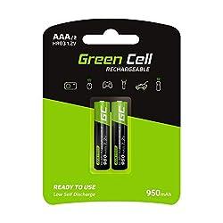 Green Cell 950mAh 1.2V 2 Stck Vorgeladene NI-MH AAA-Akkus - Akkubatterien AAA/Micro, sofort einsatzbereit, Starke Leistung, geringe Selbstentladung, wiederaufladbare Akku Batterie, ohne Memory-Effekt