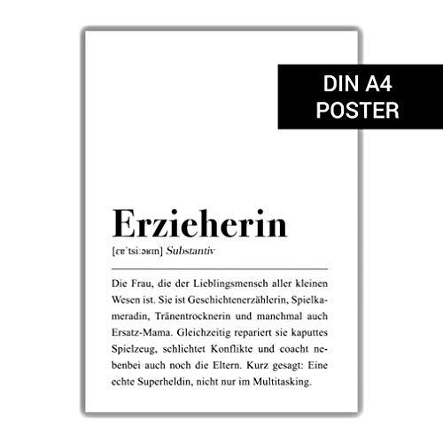 Erzieherin Definition DIN A4 Plakat: Kindergarten Abschied Geschenk