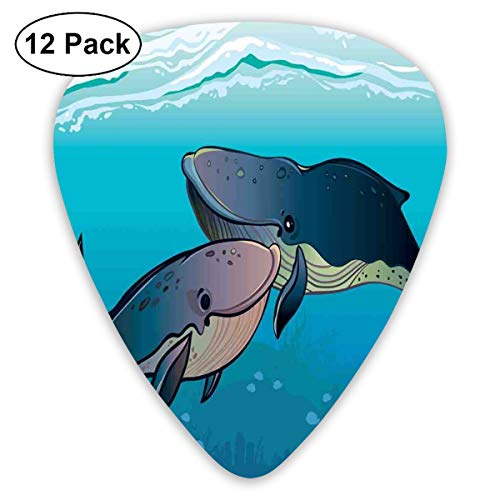 Celluloid Guitar Picks - 12 Pack,Abstract Art Colorful Designs,Whale Couple Love Aquatic Romance Family Exotic Friends Ocean Waves Marine Print,For Bass Electric & Acoustic Guitars. Marine Wave