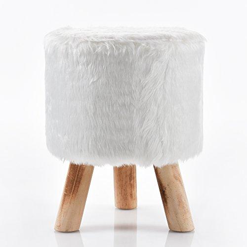 Fellhocker Hocker Sitzhocker 40 cm weiß C400 Schemel