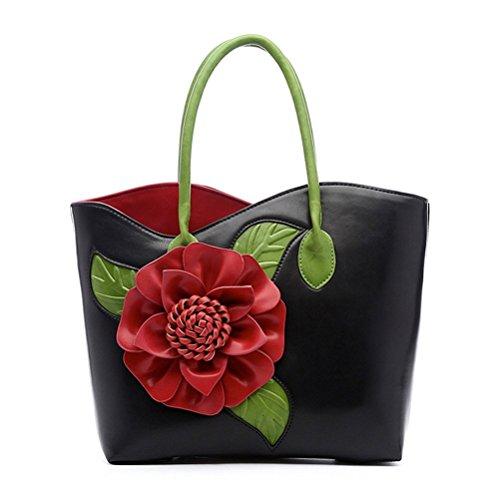 Honeymall Damen taschen Ledertasche Lederrucksack 3D Blumen Serie Vanille Schokolade Henkeltasche Handtaschen mit Blumenmuster Tasche(Schwarz)