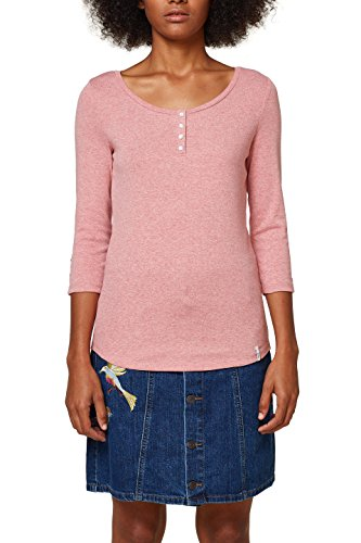 edc by ESPRIT Damen T-Shirt 088CC1K027, Rosa (Blush 665), Medium