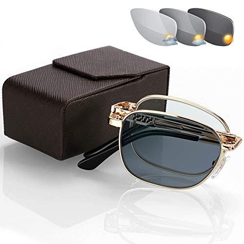 HQMGLASSES Die neuesten Modelle für Männer und Frauen mit tragbarer photochromer Lesebrille und asphärischer HD-Kunstharz-Sonnenbrille - UV400 / UV-Leselupe +1.0 bis +3.0,Gold,+3.0