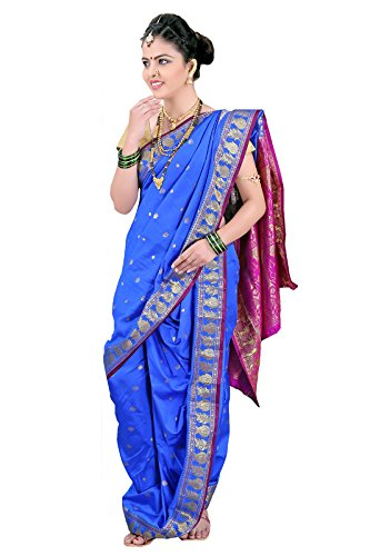 Bhartiya Vastra Bhandar Women's Ready To Wear Nauvari Saree(DNoA3_Blue_Blue_FreeSize)