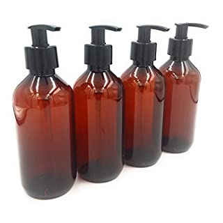 Avalon Cosmetic Packaging PACK OF 4 X 300ml Amber PET Empty Plastic Bottle with Black Lotion Pump Dispenser - Recyclable
