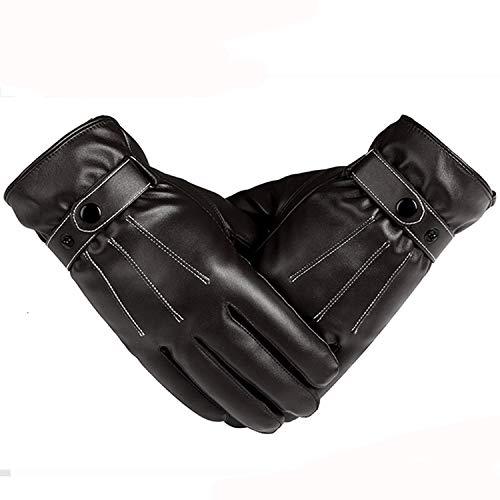 Nosterappou Gants pour Hommes Occasionnels Chauds Vent Automne et Hiver Chauds imperméables Coupe-Vent épais Gants en Cuir à écran Tactile Hommes Hiver Conduite Moto Gants froids (Couleur : Brown)