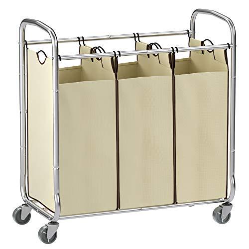 SONGMICS URLS72MZ Wäschesortierer, 3 Taschen, Beige (Stoßstange Rack)