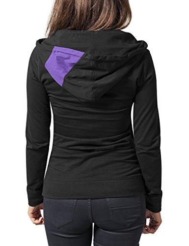 Urban Classics Ladies Zig Zag Jersey Hoody, Sweat-Shirt àCapuche Femme Multicolore - Mehrfarbig (blkfucpur 294)