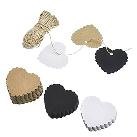 Shappy 100 Stück Handwerk Tags Papier Etikette Herzförmig Kraftpapier Geschenk Etikette mit 30 Meter Faden für Hochzeit Geburtstag Weihnacht Geschenk