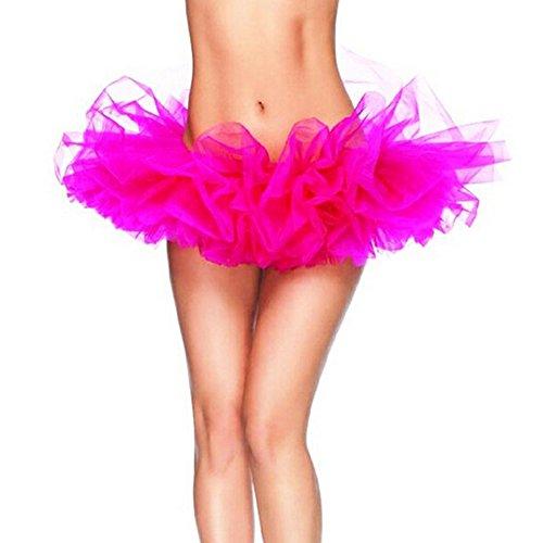 DELEY Damen Pfaurock Tütü Kleider Gotik Tüll Schicht Ballet Tutu Tanz Röcke Kostüm Hot (Rosa Tutu Kostüme Erwachsene)