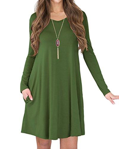 LILBETTER Frauen Langarm-beiläufige lose T-Shirt-Kleid (Armee Grün L) (Shirt Grünes Kleid)