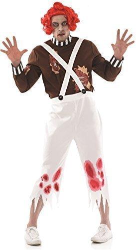 Oompa Loompa Perücke Halloween gruslige Kostüm Kleid Outfit M-XL - Multi, Multi, X-Large (Oompa Loompa Halloween-kostüm)