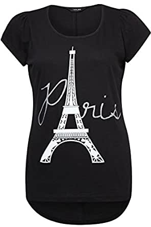 Yoursclothing Plus Size Womens Paris Print Cotton T-shirt With Dipped Hem Size 16 Black