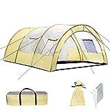 TecTake 800588 Tente de Camping Familiale Tunnel XXL, 4 Fenêtres, jusqu'à 6 Personnes - diverses Couleurs - (Gris - Gris Clair | n° 402917)
