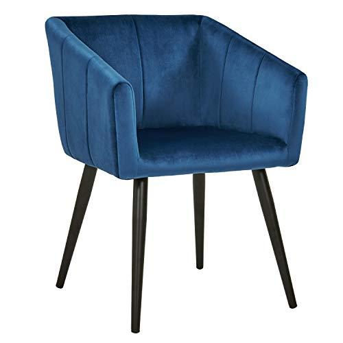 Duhome Esszimmerstuhl aus Stoff (Samt) Blau Farbauswahl Retro Design Stuhl mit Rückenlehne Sessel Metallbeine 8065