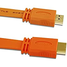 Vakoo High Speed HDMI Kabel 1,5 m (Vergoldete Stecker, Ethernet, Ultra HD, 3D, 4K-Videowiedergabe und ARC), Orange